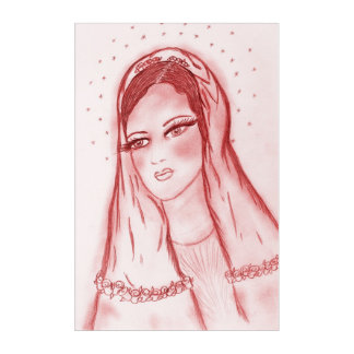 Starlight Mary in Red Acrylic Print