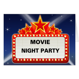 Starred Movie Marquee Movie Night Party Card