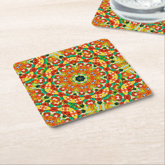 Starry Bold Kaleidoscope Square Paper Coaster