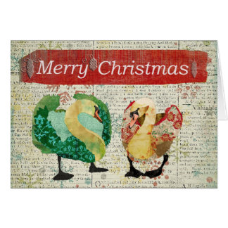 Starry Eyed Swans Vintage Merry Christmas Card