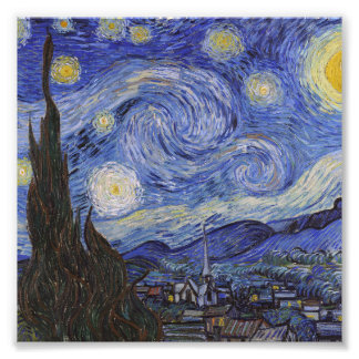 Starry night by Vincent Willem van Gogh painting Photo Print
