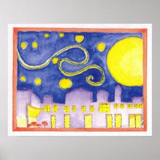 Starry Night & Cafe Mock Van Gogh Poster