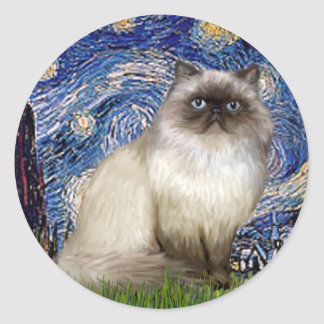 Starry Night - Himalayan cat 7 Classic Round Sticker