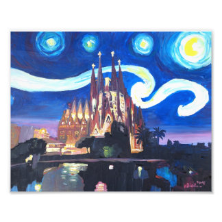 Starry Night in Barcelona with Sagrada Famili Art Photo