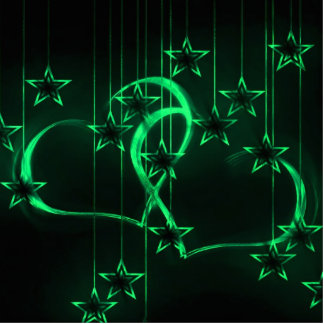 Starry Night Lovers Green Photo Cutout