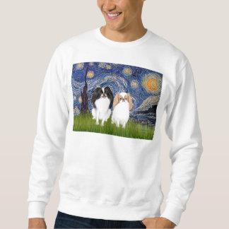 Starry Night - Two Japnaese Chins (BW+L) Sweatshirt