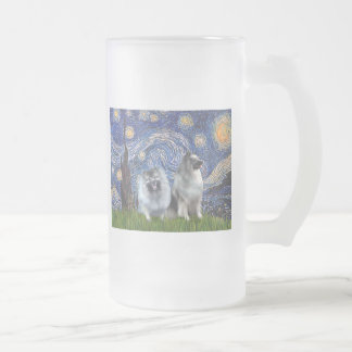 Starry Night - Two Keeshonds Frosted Glass Beer Mug