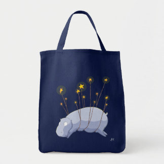 Starry Starry Hippo Grocery Tote