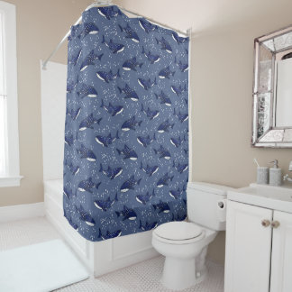 Starry Whale Shark (Dark) Shower Curtain