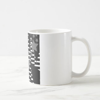 Stars and Rectangles in Grey White and Black Coffee Mug