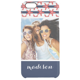 Stars And Stripes Pattern | Your Photo & Name Clear iPhone 6 Plus Case