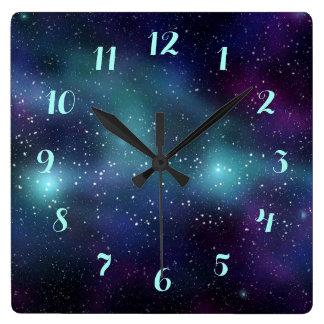 Stars in Space Purple Blue Green Nebula Square Wall Clock