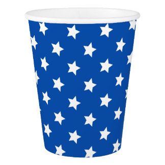 Stars on Blue Patriotic Paper Cups