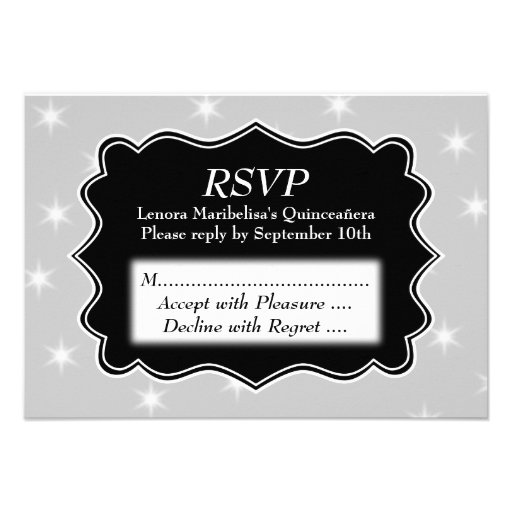 Stars Pattern in Gray and White Quinceanera Announcements