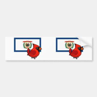 State Birdorable of West Virginia: No. Cardinal Bumper Sticker