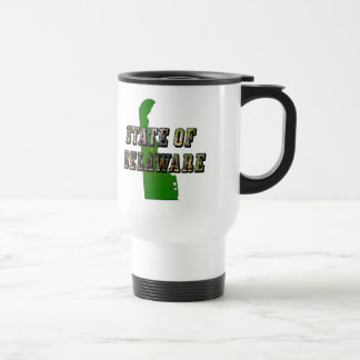 State of Delaware Picture Text and Map Travel Mug