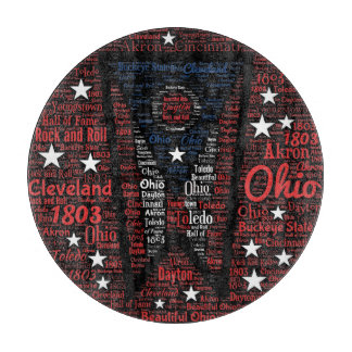 State of Ohio Word Art Glass Cutting Board 12""