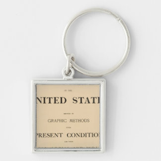 statistical atlas Silver-Colored square key ring