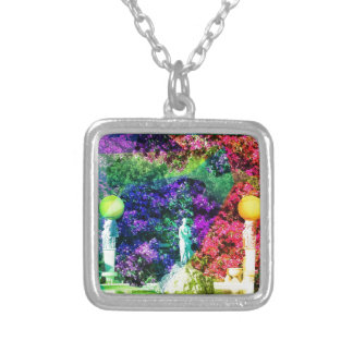 Statue, fountain and Tennis ball Silver Plated Necklace