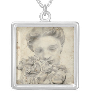 Statue in the Garden I Silver Plated Necklace