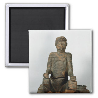 Statue of a seated man, Mbembe, Nigeria Square Magnet