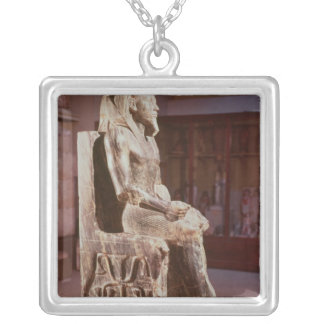 Statue of Khafre  enthroned Silver Plated Necklace