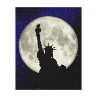 Statue of Liberty against the Moon Canvas Stretched Canvas Prints
