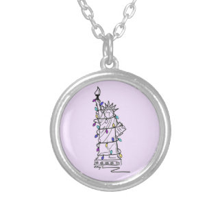 Statue of Liberty Hanukkah Holiday Lights Necklace