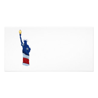 Statue of liberty on any color personalized photo card