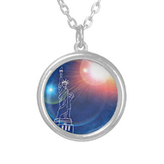 statue-of-liberty silver plated necklace