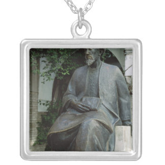 Statue of Moses Maimonides Silver Plated Necklace