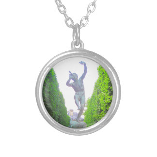 Statue of Pan, Luxembourg Garden, Paris France Silver Plated Necklace