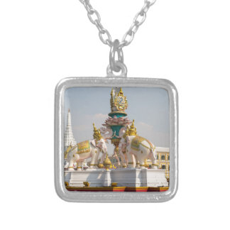 Statue of pink elephants Bangkok Thailand Silver Plated Necklace