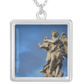 statue of the Angel with superscription on Sant Silver Plated Necklace