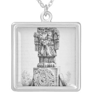 Statue of the Goddess Coatlicue Silver Plated Necklace