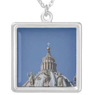 statues on the facade of Saint Peter's basilica Silver Plated Necklace