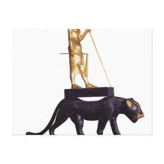 Statuette of the king upon a Leopard Canvas Print