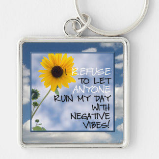 Staying Positive Text With A Sunflower In The Sky Key Ring