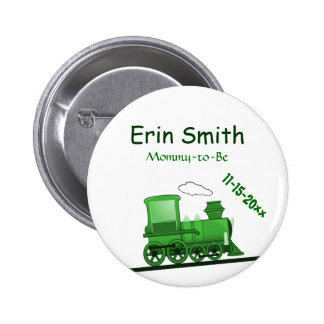Steam Train Loco Green Pinback Button