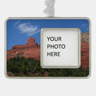 Steamboat Rock in Sedona Arizona Photography Silver Plated Framed Ornament