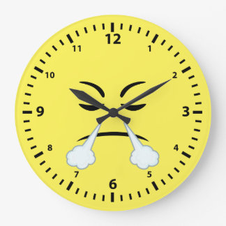 Steaming Emoji Large Clock