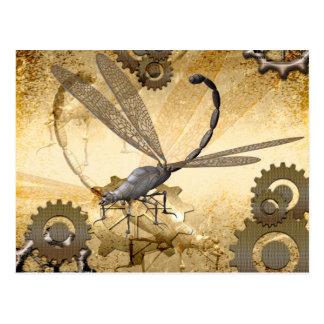 Steampunk, awesome steam dragonflies postcard