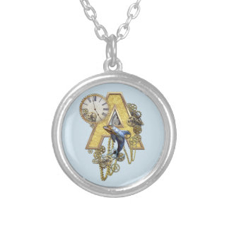 Steampunk Birthday letter A Silver Plated Necklace