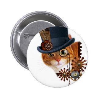 Steampunk Cat 6 Cm Round Badge