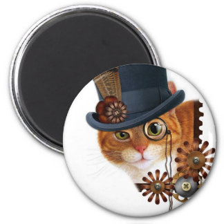 Steampunk Cat 6 Cm Round Magnet