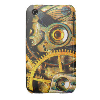 Steampunk Clock Gears Rusty Grungy Timepiece iPhone 3 Cover