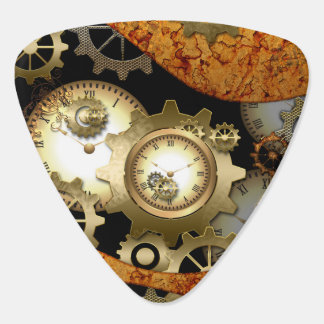 Steampunk, clocks and gears in golden colors guitar pick