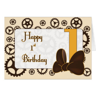 Steampunk First Birthday for girl Card