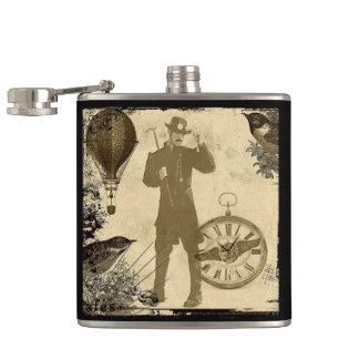 Steampunk Gentleman Collage Hip Flask