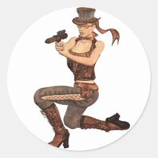 Steampunk Girl with Gun Round Sticker